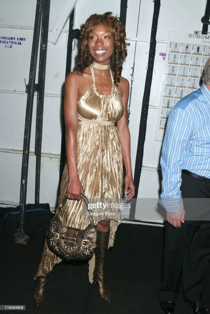 Brandy during Olympus Fashion Week Spring 2006 - BCBG Max Azria - Front Row and Backstage at Bryant Park in New York City, New York, United States.