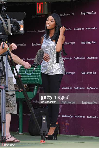 Brandy is interviewed during the Sony Ericsson Open at Crandon Park Tennis Center on March 26 2011 in Key Biscayne Florida