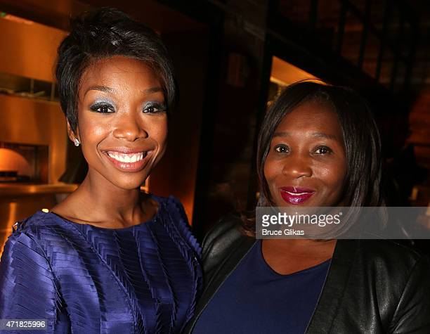 Brandy Norwood and B Smith pose at the Opening Night After Party for Brandy's debut in Chicago on Broadway at David Burke fabrick on April 30 2015 in...