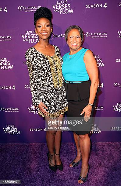 Brandy Norwood and Cathy Hughes arrive at Verses And Flow Season 4 taping presented by TV One at Siren Studios on May 8 2014 in Hollywood California