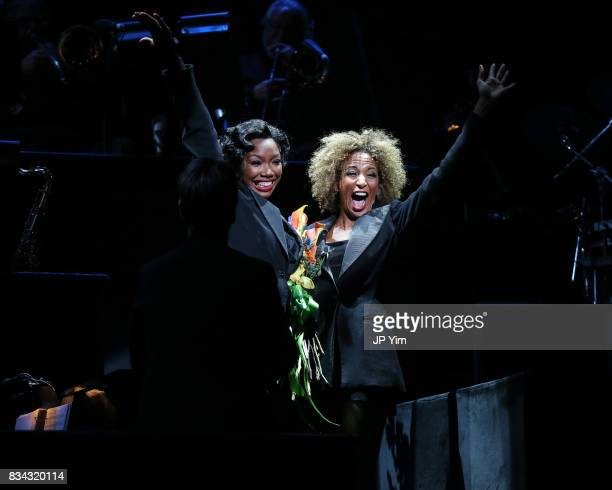 Brandy Norwood and Lana Gordon onstage for the curtain call of 'Chicago' on Broadway at the Ambassador Theatre on August 17 2017 in New York City