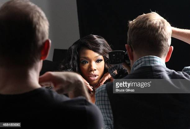 """Brandy Norwood and Photographer Jason Bell chat as Brandy prepares for her Broadway debut as """"Roxie Hart"""" in """"Chicago"""" with an ad photoshoot at..."""