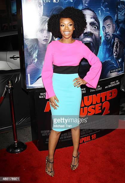 Brandy Norwood arrives at the Los Angeles premiere of 'A Haunted House 2' held at Regal Cinemas LA Live on April 16 2014 in Los Angeles California