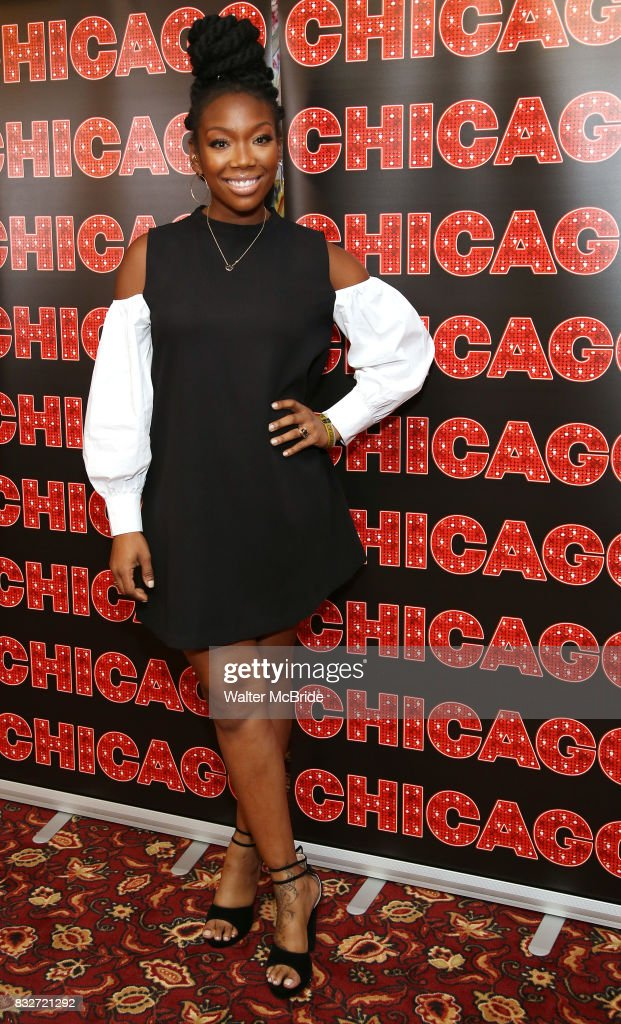 Brandy Norwood attends the press photo call for her return to Broadway's 'Chicago' at Sardi's on August 16, 2017 in New York City.