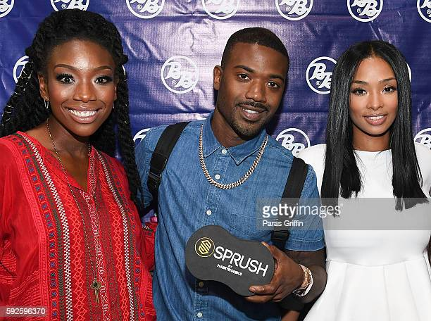 Brandy Norwood Ray J and Princess Love attend Bronner Brothers International Beauty Show at Georgia World Congress Center on August 20 2016 in...