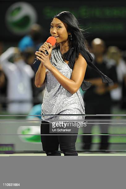 Brandy performs during the Sony Ericsson Open at Crandon Park Tennis Center on March 26 2011 in Key Biscayne Florida