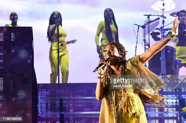 Brandy performs with Anderson Paak The Free Nationals at Coachella Stage during the 2019 Coachella Valley Music And Arts Festival on April 19 2019 in...