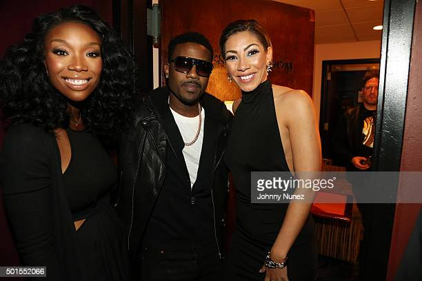 Brandy Ray J and Bridget Kelly attend the 2015 MBK Entertainment Holiday Concert Party at BB King Blues Club Grill on December 15 in New York City