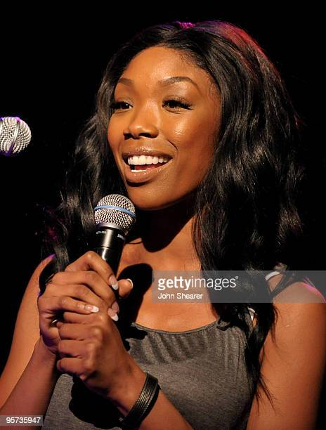 Brandy speaks at the Microdine product launch web concert at SIR Studios on January 12 2010 in Hollywood California