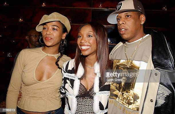 Brandy with Ananda Lewis and JayZ at a Vibe Magazine record release party for her new CD Full Moon at Blue Fin at the W Hotel in New York City Mar 4...