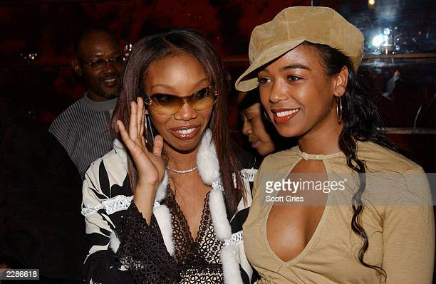 Brandy with Ananda Lewis at a Vibe Magazine record release party for her new CD Full Moon at Blue Fin at the W Hotel in New York City Mar 4 2002...