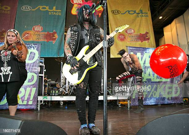Brandy Wynn Dahvie Vanity and Jayy Von Monroe of Blood on the Dance Floor perform live onstage during the 2012 Vans Warped Tour at the Riverbend...