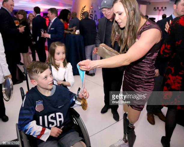 Branedon Monthony and Oksana Masters during the Team USA Awards at the Duke Ellington School of the Arts on April 26 2018 in Washington DC