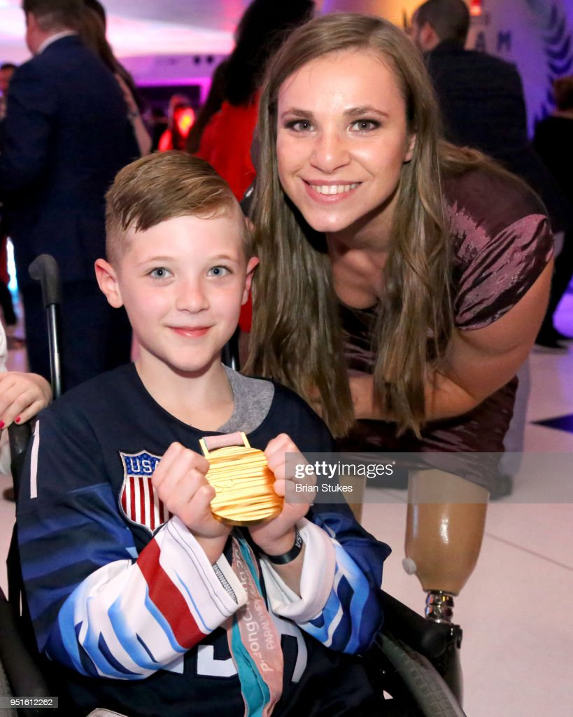 Branedon Monthony and Oksana Masters during the Team USA Awards at the Duke Ellington School of the Arts on April 26, 2018 in Washington, DC.