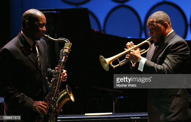 Branford Marsalis and Wynton Marsalis during Jazz at Lincoln Center's Annual Spring Gala 2004 Themed Teach Me Tonight at Apollo Theater in New York...