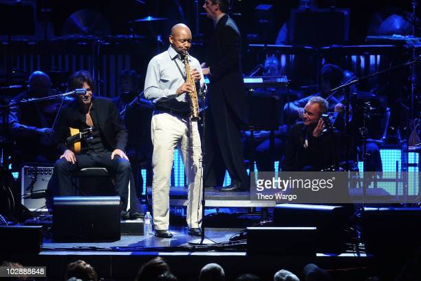 Branford Marsalis performs during Sting's 'Symphonicity' Tour featuring the Royal Philharmonic Concert Orchestra at The Metropolitan Opera House on...