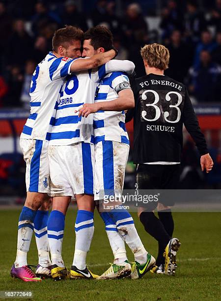 Branimir Bajic of Duisburg celebrates after scoring his teams second goal during the Second Bundesliga match between MSV Duisburg and FC Energie...