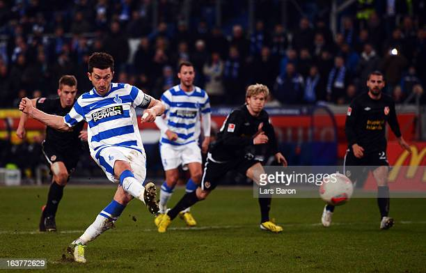 Branimir Bajic of Duisburg scores his teams second goal during the Second Bundesliga match between MSV Duisburg and FC Energie Cottbus at...