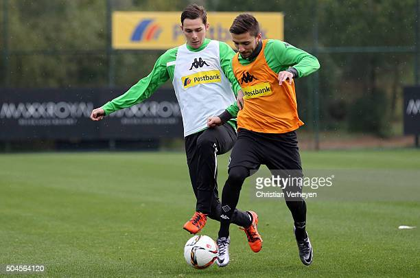Branimir Hrgota and Julian Korb battle for the ball during a training session on day 5 of the Borussia Moenchengladbach training camp on January 11...