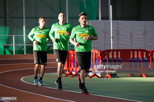 Branimir Hrgota Josip Drmic and Julian Korb of Borussia Moenchengladbach run during the lactate test of Borussia Moenchengladbach at Esprit Arena on...
