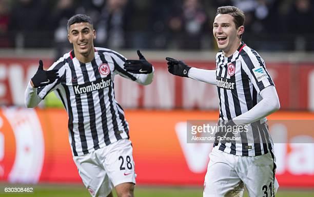 Branimir Hrgota of Frankfurt celebrates the third goal for his team with Aymane Barkok of Frankfurt during the Bundesliga match between Eintracht...