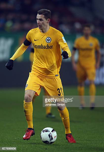 Branimir Hrgota of Frankfurt in action during the Bundesliga match between FC Augsburg and Eintracht Frankfurt at WWK Arena on December 4 2016 in...