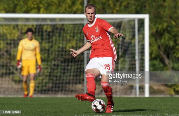Branimir Kalaica of SL Benfica B kicks the ball during the Liga Pro match between SL Benfica B and UD Vilafranquense at Benfica Campus on February 2...