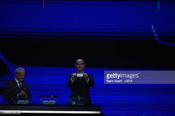 Branislav Ivanović draws a team during the UEFA Champions League 2021/22 Group Stage Draw on August 26, 2021 in Istanbul, Turkey.