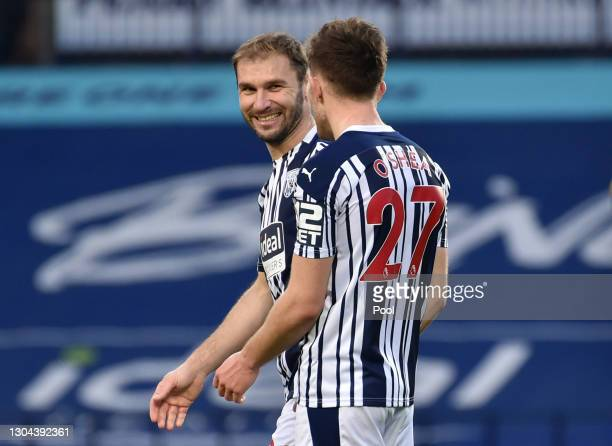 Branislav Ivanovic and Dara O'Shea of West Bromwich Albion celebrate following their team's victory in the Premier League match between West Bromwich...