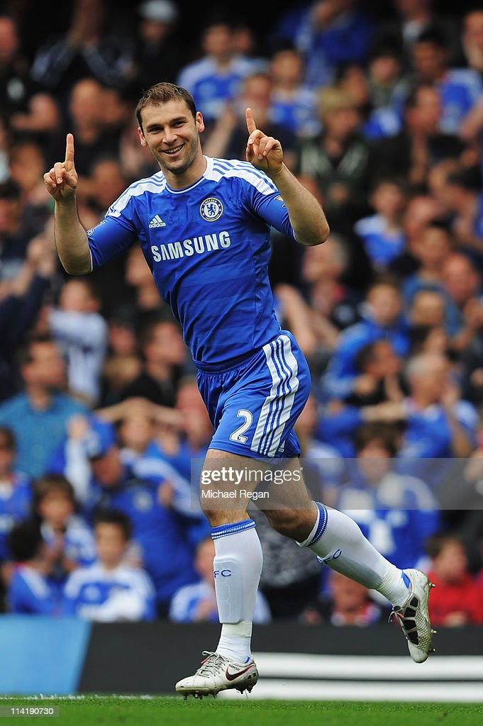 Branislav Ivanovic of Chelsea celebrates after scoring during the Barclays Premier League match between Chelsea and Newcastle United at Stamford Bridge on May 15, 2011 in London, England.