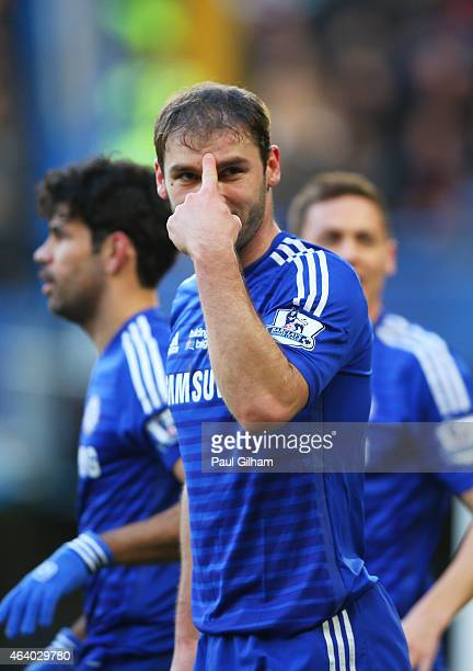 Branislav Ivanovic of Chelsea celebrates after scoring the opening goal during the Barclays Premier League match between Chelsea and Burnley at...
