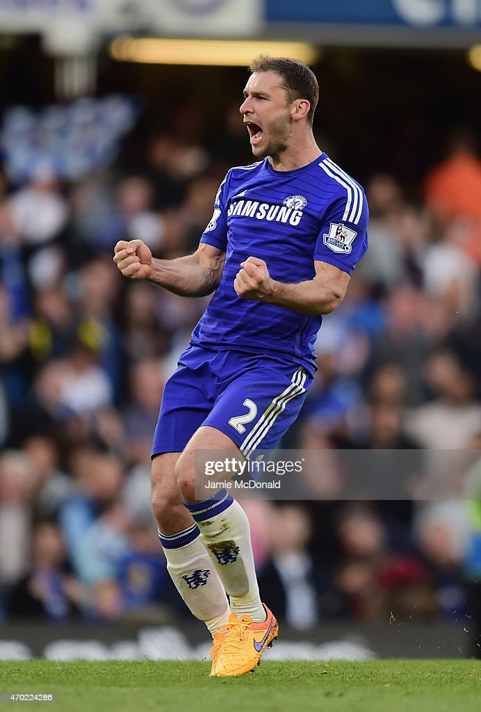 Branislav Ivanovic of Chelsea celebrates at the final whistle during the Barclays Premier League match between Chelsea and Manchester United at Stamford Bridge on April 18, 2015 in London, England.