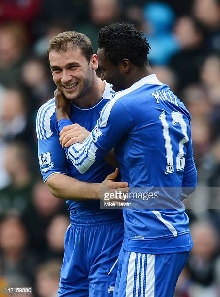 Branislav Ivanovic of Chelsea celebrates his goal with Mikel during the Barclays Premier League match between Aston Villa and Chelsea at Villa Park...