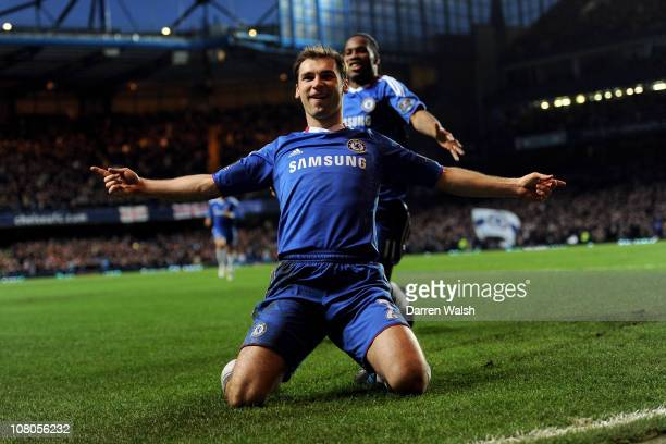 Branislav Ivanovic of Chelsea celebrates scoring the opening goal during the Barclays Premier League match between Chelsea and Blackburn Rovers at...