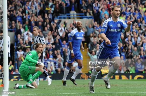 Branislav Ivanovic of Chelsea celebrates scoring the opening goal during the Barclays Premier League match between Chelsea and Newcastle United at...