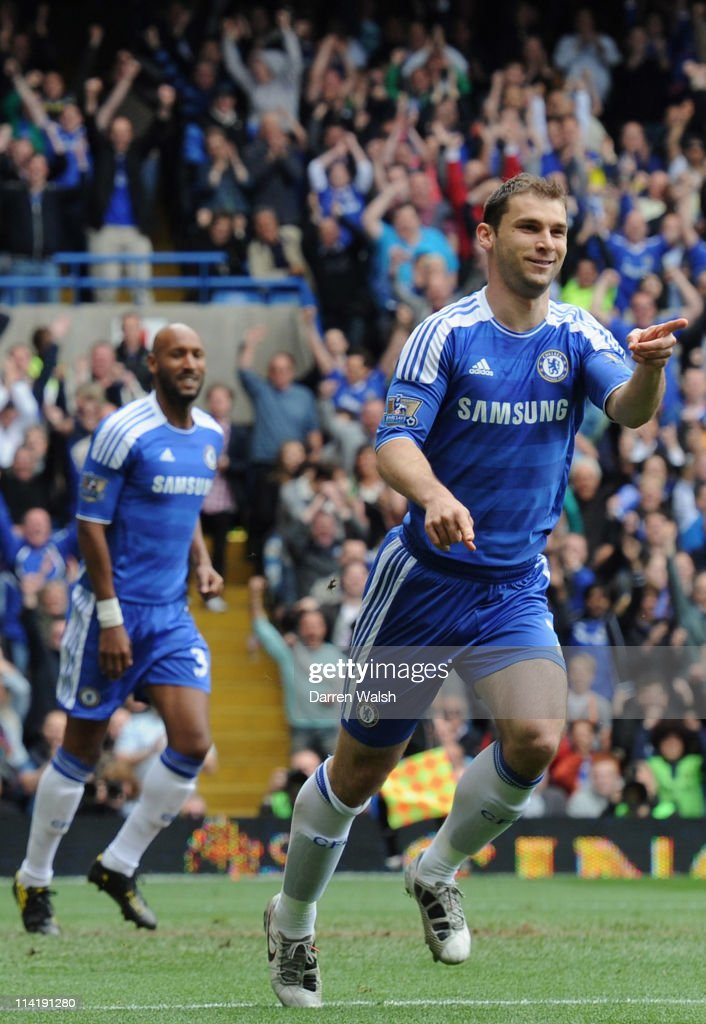 Branislav Ivanovic of Chelsea celebrates scoring the opening goal during the Barclays Premier League match between Chelsea and Newcastle United at Stamford Bridge on May 15, 2011 in London, England.