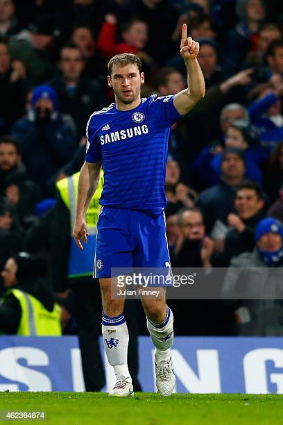 Branislav Ivanovic of Chelsea celebrates scoring their first goal in extra time during the Capital One Cup SemiFinal second leg between Chelsea and...