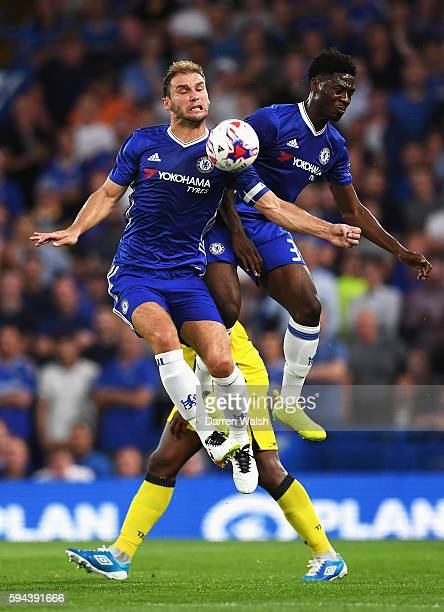 Branislav Ivanovic of Chelsea collides with Ola Aina of Chelsea during the EFL Cup second round match between Chelsea and Bristol Rovers at Stamford...