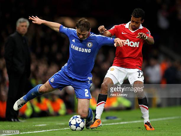 Branislav Ivanovic of Chelsea competes with Nani of Manchester United during the UEFA Champions League Quarter Final second leg match between...