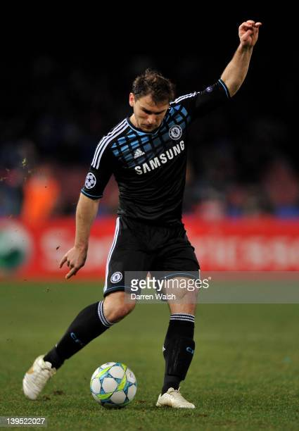 Branislav Ivanovic of Chelsea crosses the ball during the UEFA Champions League round of 16 first leg match between SSC Napoli and Chelsea FC at...