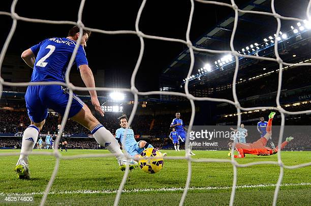 Branislav Ivanovic of Chelsea fails to stop David Silva of Manchester City scoring the equalising goal during the Barclays Premier League match...