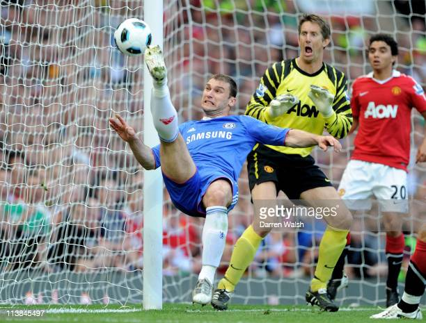 Branislav Ivanovic of Chelsea has an attempt on goal during the Barclays Premier League match between Manchester United and Chelsea at Old Trafford...