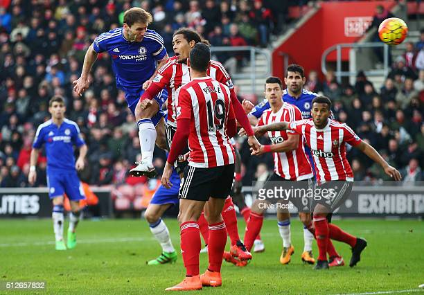 Branislav Ivanovic of Chelsea heads the ball to score his team's second goal during the Barclays Premier League match between Southampton and Chelsea...