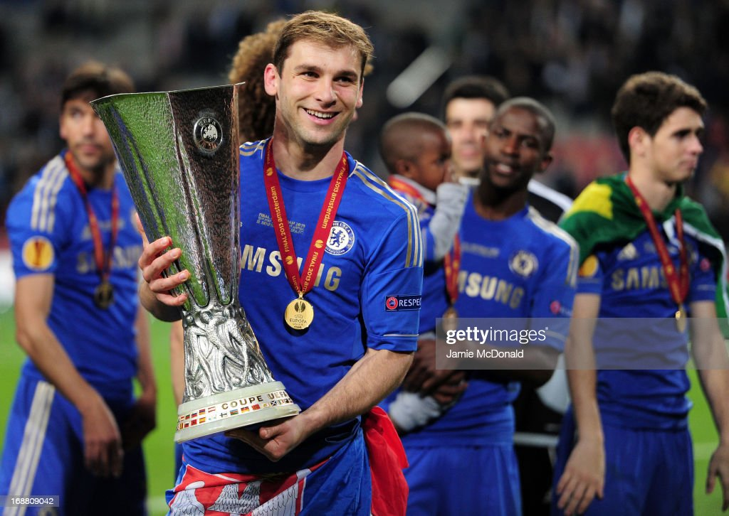 Branislav Ivanovic of Chelsea poses with the trophy during the UEFA Europa League Final between SL Benfica and Chelsea FC at Amsterdam Arena on May 15, 2013 in Amsterdam, Netherlands.