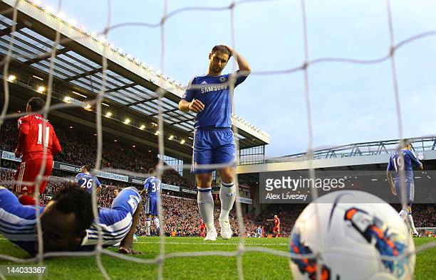Branislav Ivanovic of Chelsea puts his hand on his head after Michael Essien of Chelsea scores an own goal during the Barclays Premier League match...