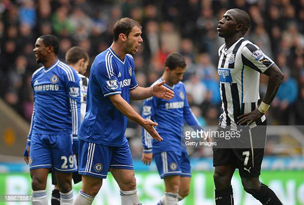 Branislav Ivanovic of Chelsea reacts during the Barclays Premier League match between Newcastle United and Chelsea at St James' Park on November 02...