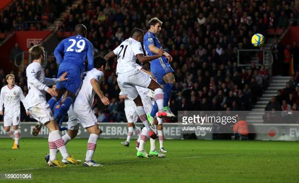 Branislav Ivanovic of Chelsea scores a header for their third goal during the FA Cup Third Round match between Southampton and Chelsea at St Mary's...