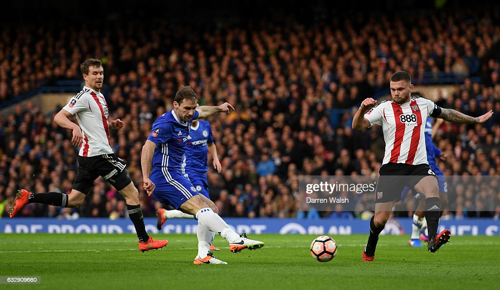 Branislav Ivanovic of Chelsea scores his sides first goal during the Emirates FA Cup Fourth Round match between Chelsea and Brentford at Stamford Bridge on January 28, 2017 in London, England.