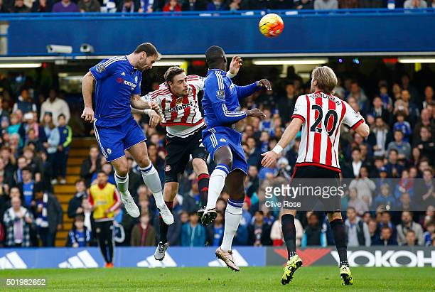 Branislav Ivanovic of Chelsea scores his team's first goal during the Barclays Premier League match between Chelsea and Sunderland at Stamford Bridge...