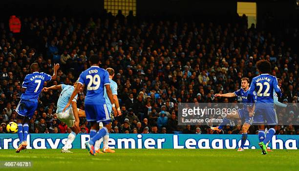 Branislav Ivanovic of Chelsea scores their first goal during the Barclays Premier League match between Manchester City and Chelsea at Etihad Stadium...